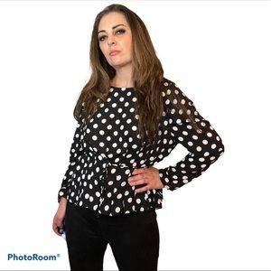 Christy & Co Black & White Polka Dots Blouse Top L